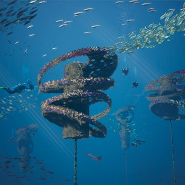 Artistic rendering of divers exploring Wonder Reef with abundant marine flora and fauna. Image supplied by the City of Gold Coast.